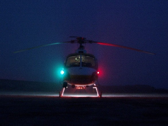 Helicopter Photo - AS350 Head On @ Night