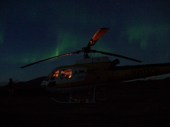 Helicopter Photo, AS350 AND NORTHERN LIGHTS, SEPT 2007