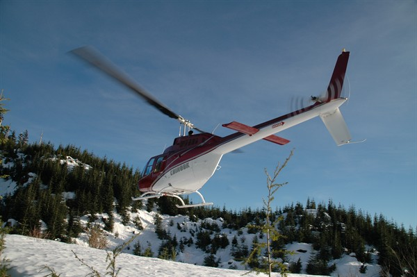 Helicopter Photo, Snow Landing
